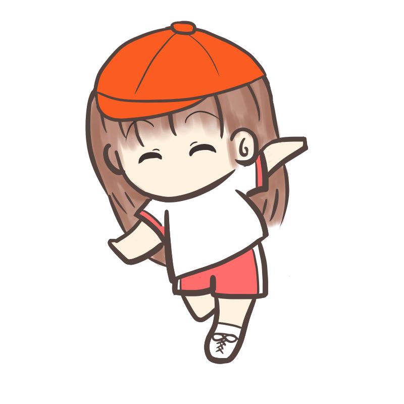 運動会 かけっこ 女の子 赤帽子