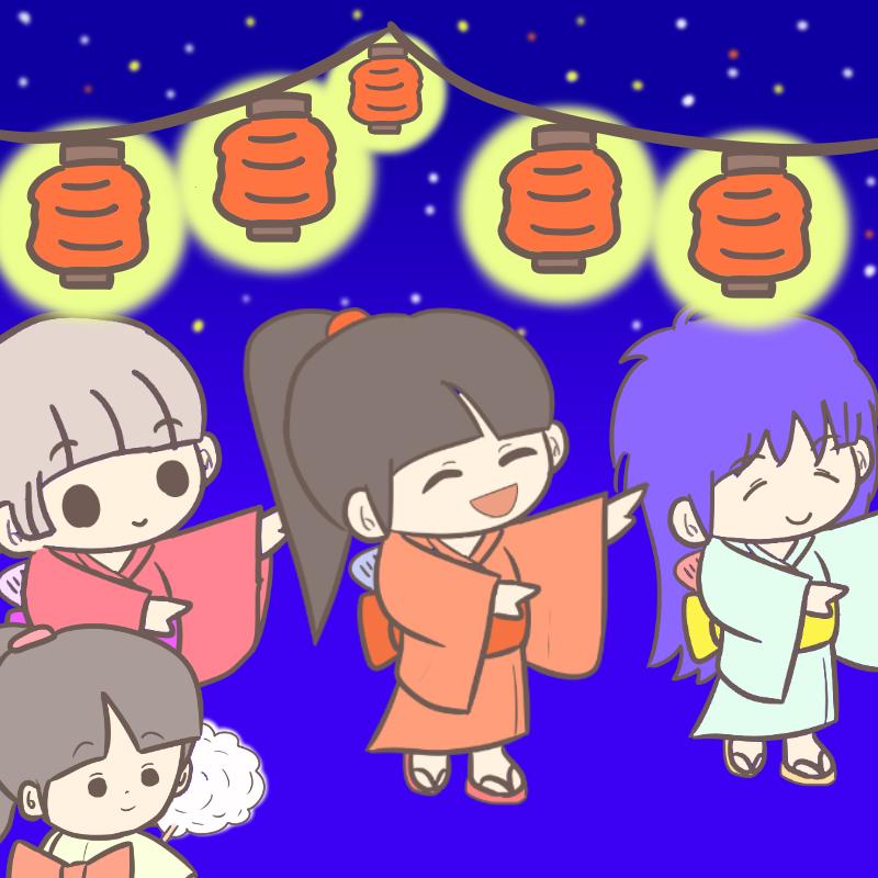 花火・浴衣・縁日・わたあめ、盆踊り(夏祭り)のイラスト集