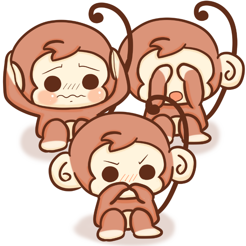 改訂版!三サルのイラスト