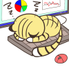 仕事中なんですけどぉ?!キーボードの上で寝る猫のフリーイラスト