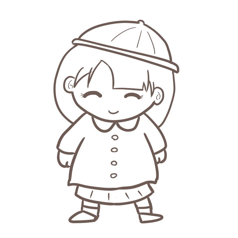 入園式 女の子(線画)