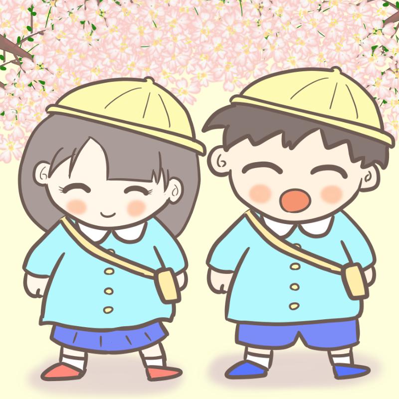 入園式 男の子と女の子 桜あり