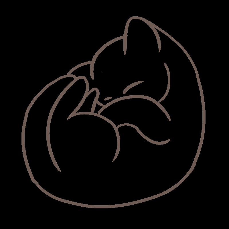 丸まって眠る猫のフリーイラスト(線画)