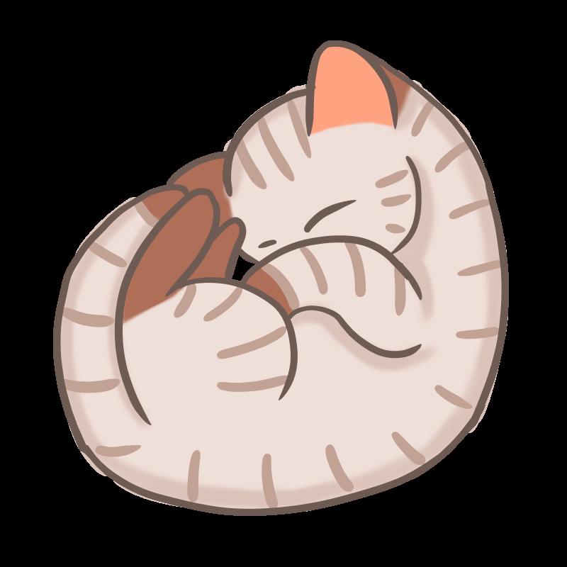 丸まって眠るキジトラ猫のフリーイラスト