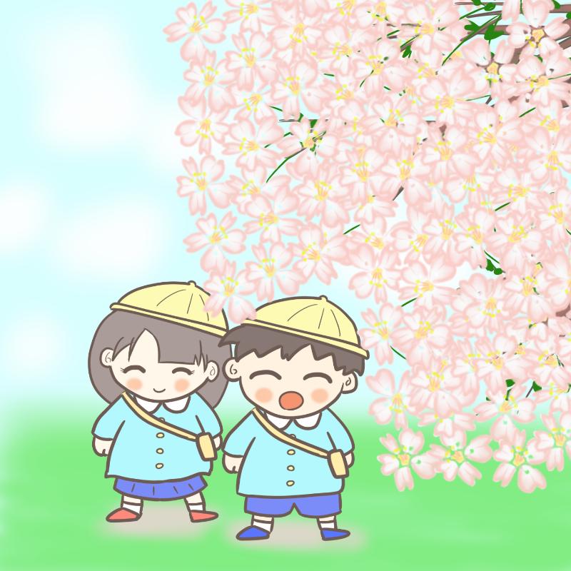 桜の下を通って通園する幼稚園児のイラスト