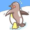 後姿が可愛い♡氷の上を歩くペンギンの無料イラスト