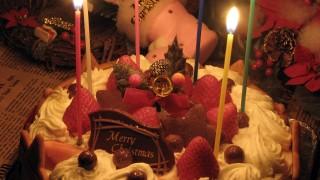 恋人と過ごすクリスマス♡クリスマスケーキのフリー写真