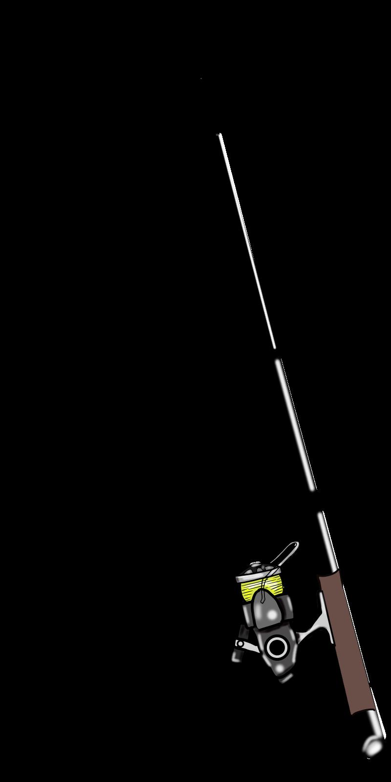 仕掛けは自分で書いてよね♡釣り竿とリールの無料イラスト2015-6-8 黒