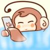 お風呂でスマホを操作するサルの無料イラスト
