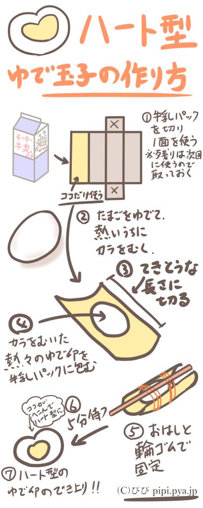ハート形のゆで卵の作り方